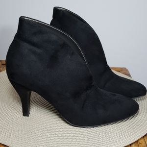 Expressions black heeled suede slouchy booties